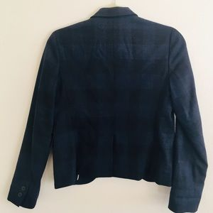 GAP Jackets & Coats - GAP Navy Plaid Shrunken Wool Blend Blazer